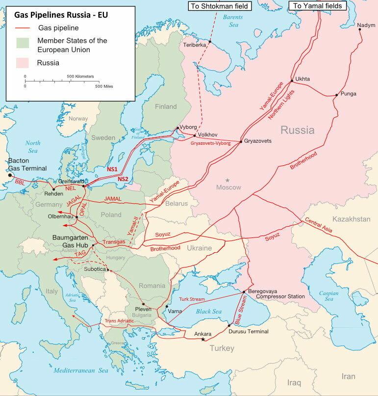 Eine Landkarte mit Gas-Pipelines in Russland